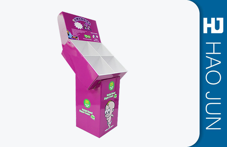 Foldable Eye Catching Strong Cardboard Display Stands For Baby Paper Diaper