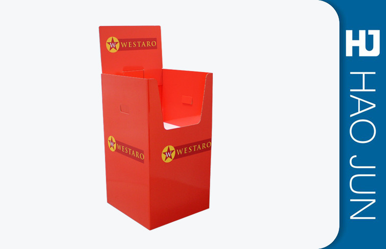 Supermarket Sale Promotion Cardboard Display Stands For Clothing In Red Color Dump Bin