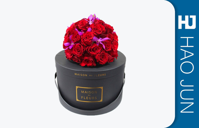 New Arrival High Quality Round Black Cardboard Decorative Flower Boxes Kraft Paper Gift Box