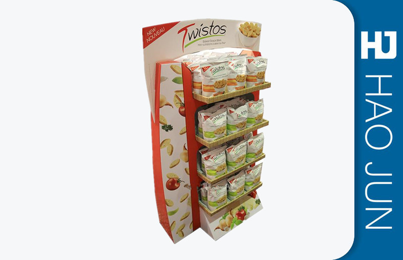 Free Standing Cardboard Display Stands Glossy Lamination For Foods Retail