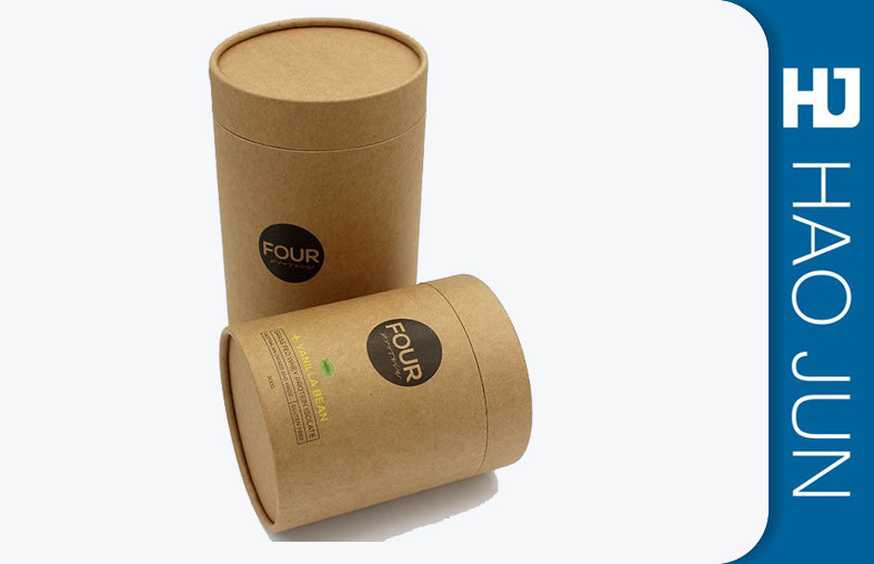 Custom Printed Kraft Candle Boxes , Corrugated Cardboard Cylinder Containers