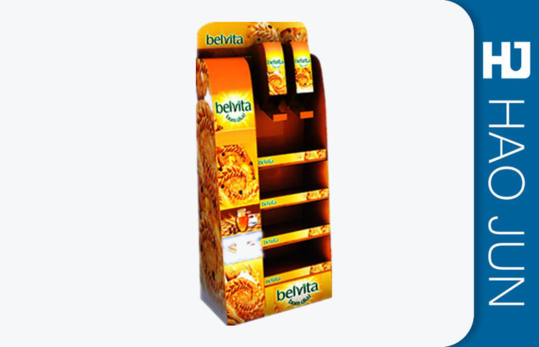 Custom Cardboard Floor Display Stands For Food Promotion , 100% Recyclable