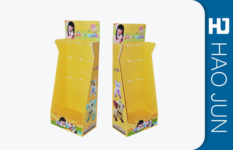 yellow Pop Up Cardboard Display Stands With Hooks For Barbie Dolls