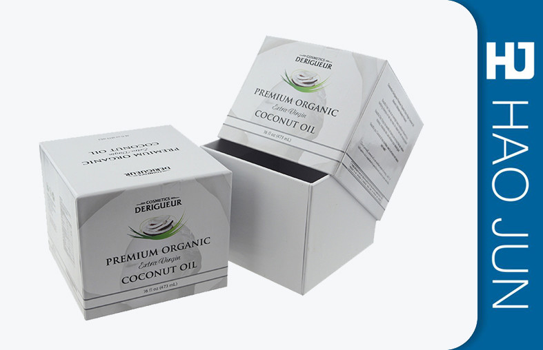 White Square Cosmetic Paper Boxes For Perfume / Coconut Oil , Free Sample