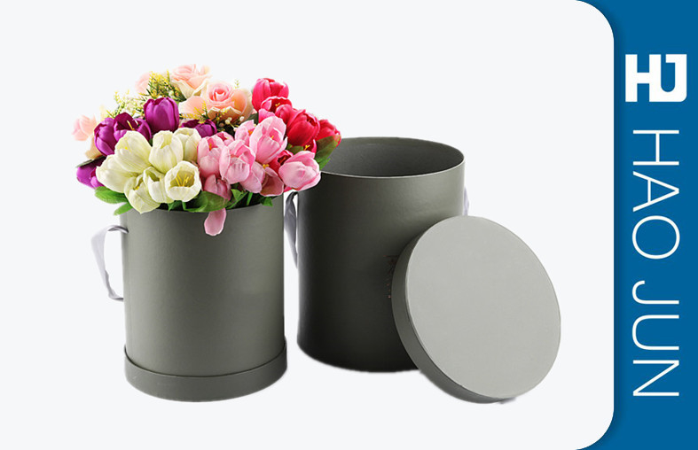 Fancy Round Cardboard Boxes With Lids / Flower Bouquet Boxes Color Customized