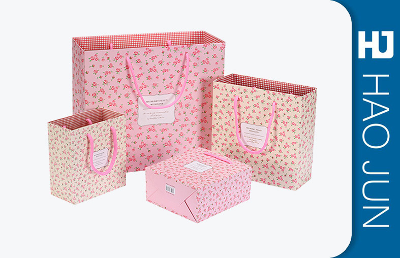 Custom Boutique Shopping Bags 100% Recyclable Gift Paper Bags Pink Color