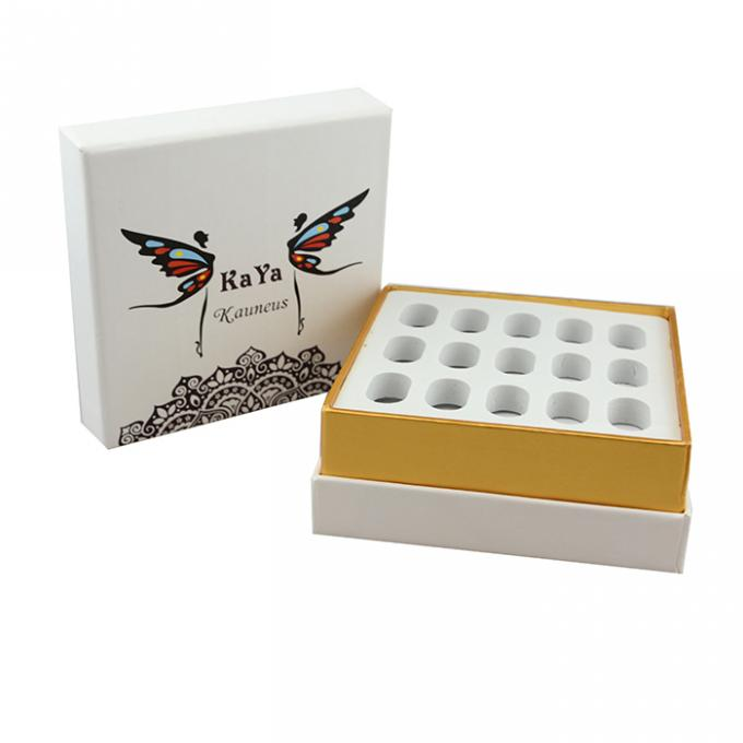 High End Handmade Cosmetic Paper Boxes For Bottles With White EVA Form