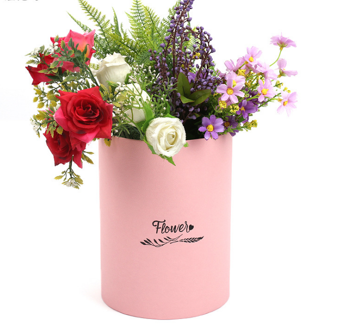 Waterproof Pink Cardboard Flower Boxes Handmade Round Corrugated Boxes