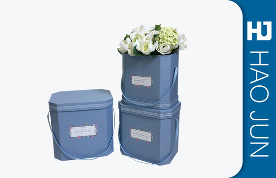China Light Blue Custom Printed Cardboard Flower Boxes With Lids , Free Sample factory