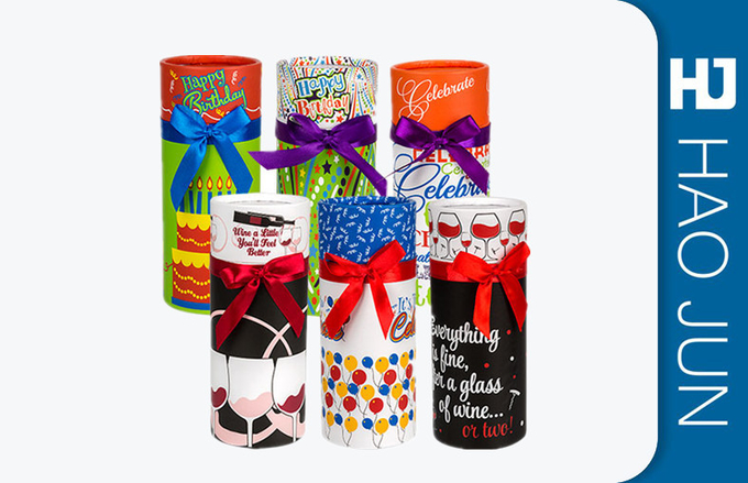 Luxury Cardboard Cylinder Tubes CMYK / PMS Printed For Flowers Packing , Eco Friendly
