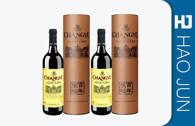 Fashion Cylinder Cardboard Boxes For Wine Bottles , FDA SGS Certification