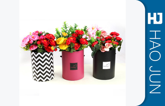 Luxury Round Flower Box Cardboard Flower Boxes Packaging Tubes With Customized Size